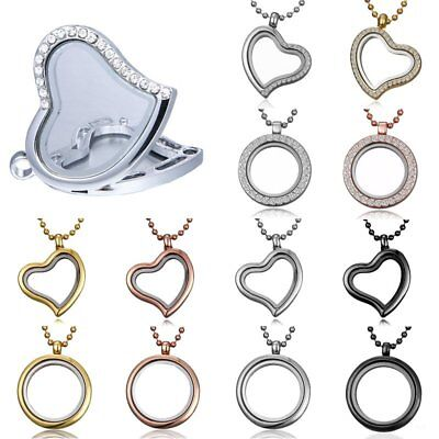 Fashion Living Memory Floating Charm Glass Round Heart Locket Pendant Necklace - Floating Charm Locket Necklace