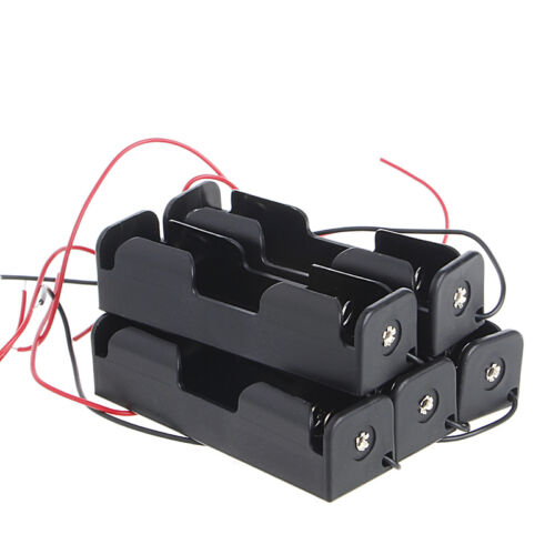 5 Pcs 18650 3.7V Rechargeable Battery Clip Holder Box Case With Wire Lead