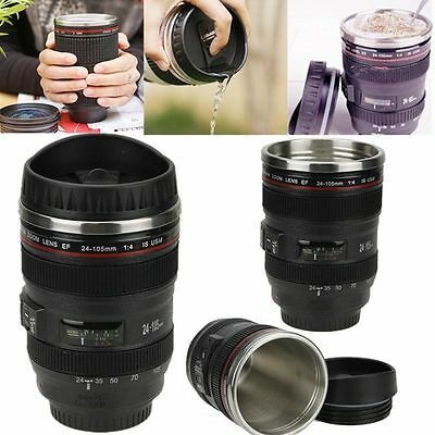 Black Camera Lens Thermos Mug Tea Water Liner Travel Thermal Coffee Cup  1Set