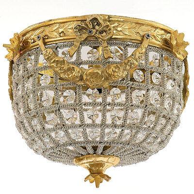 DECKEN- und WANDLAMPE Ø=20cm, PLAFONIERE, goldene ANTIK-STIL LAMPE mit KRISTALL