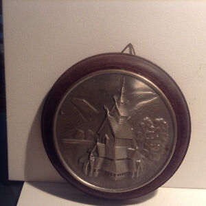 2 X Vintage Norwegian Cast Pewter Metal and Wood Wall Plaque H.S