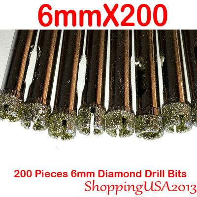200Pcs 6mm Diamond Coated Drill Bit Set Hole Saw Cutter Metal Tool Glass Tile 200+ Pcs Diamond