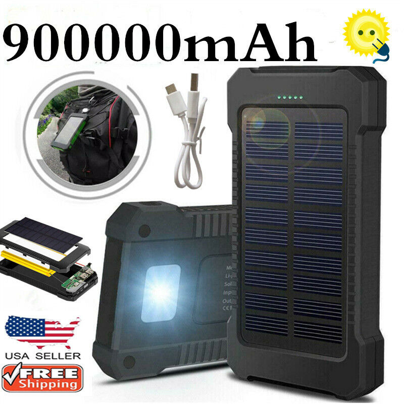 new 900000mah dual usb waterproof solar fast
