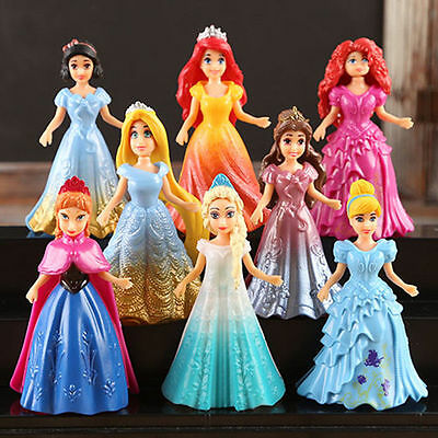 USA Hot 8pcs Cute Princess Action Figures Changed Dress Doll Toy Set Kids Gift