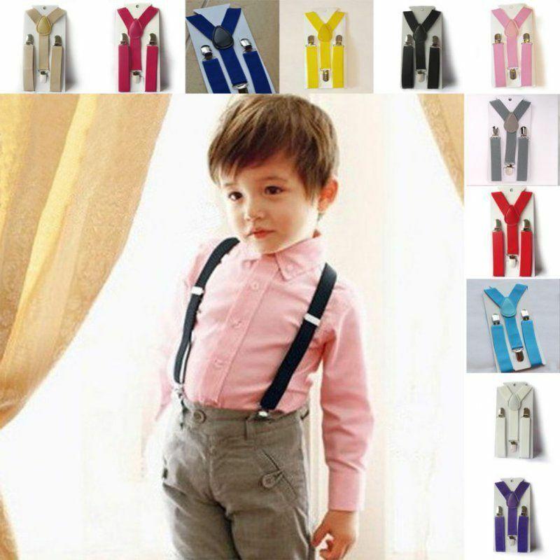 Kids Boy Girls Toddler Clip-on Adjustable Belts Suspenders E