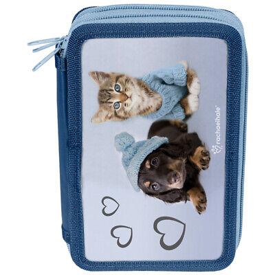 PASO 3-FACH Mäppchen Federmappe Federtasche Federmäppchen, mit Hund und Katze 3-fach