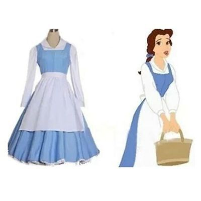 Blue Halloween Costume (2018 Adult Beauty and the Beast Belle Blue Maid Dress Cosplay Costume)