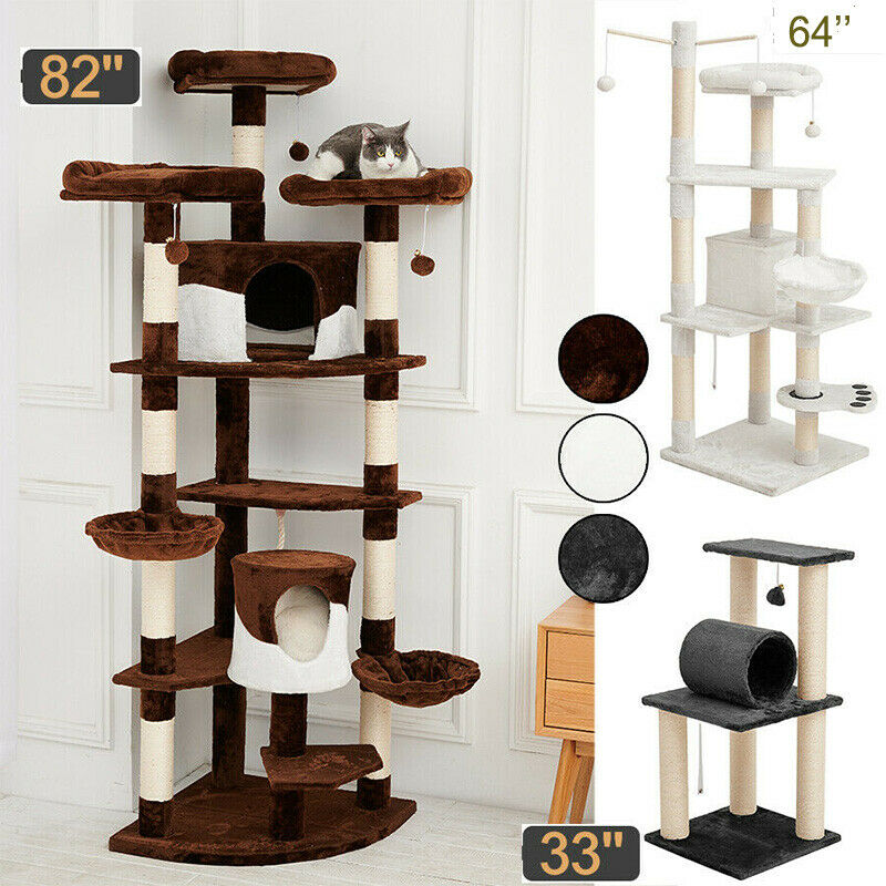 Sisal Scratching Post Cat Tree House Condo Tower Play Kitty