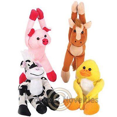"""Dozen 8"""" Hanging Barnyard Animal Plush Carnival Vending Prize Fun Toy Game"""