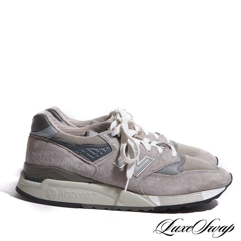 New Balance Made in USA 998 Abzorb Smoke Grey Suede Running Track Sneakers 9.5
