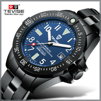 TEVISE Business Men Automatic Mechanical Watch Calendar Display Stainless Steel