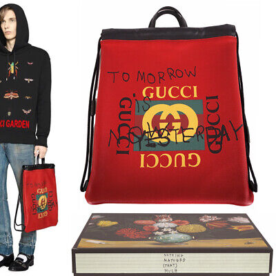 NEW $1890 GUCCI Red Leather COCO CAPITAN VINTAGE 80's LOGO BACKPACK Tote BAG NIB