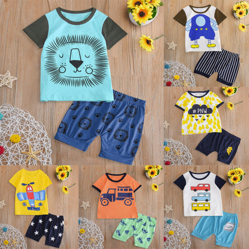 Infant Kids Boy Girl Summer Clothes Short Sleeve Cartoon Top