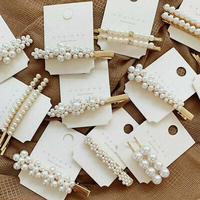 Fashion Women Pearl Hair Clip Snap Barrette Stick Hairpin Bobby Hair Accessories