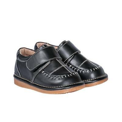 Boy Dress Shoes (Boy's Leather Toddler Black Dress Squeaky Shoes Sizes 1 to 7 w/Free)