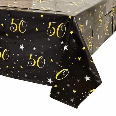 """3-Pack Juvale 50th Birthday Plastic Table Cloth Covers Party Decoration 54""""x108"""""""