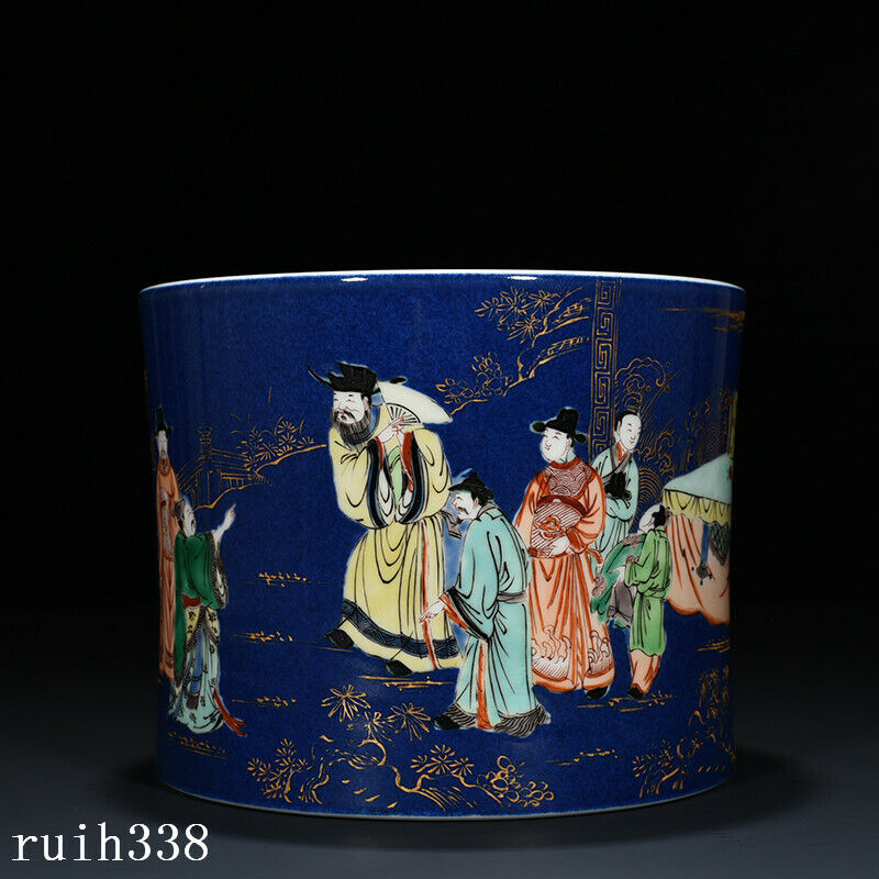 China Qing Dynasty Blue glaze Multicolored Character story lines pen container
