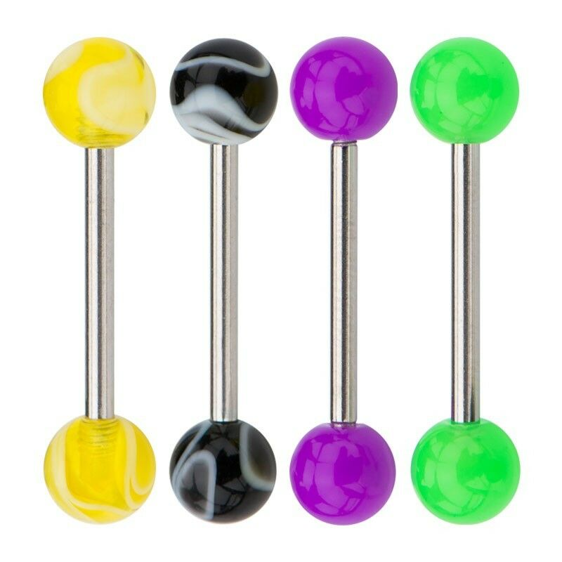 "4pcs multi pack Barbell surgical steel tongue rings 14G 5/8"" 16mm"