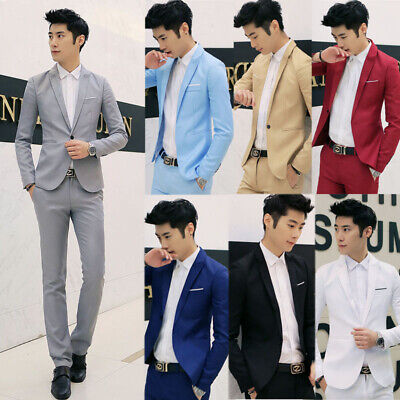 New Mens Casual Slim Fit One Button Suit Blazer Business Coat Jacket With -