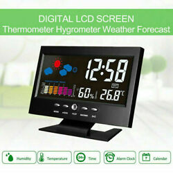 Digital Alarm Clock Calendar LED Display  Weather Temperature Humidity Monitor