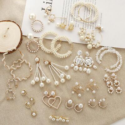 Elegant Women Geometric Pearl Stud Earrings Statement Dangle Jewelry Gift