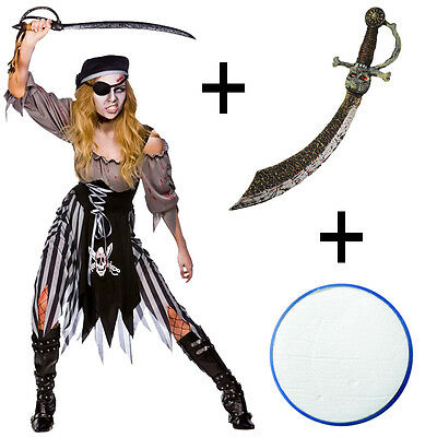 Ladies Zombie Ghost Ship Pirate Fancy Dress Halloween Costume + Sword + Make Up](Halloween Ghost Pirate Makeup)