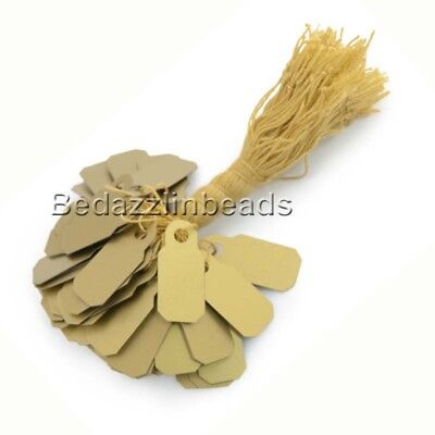 100 Small 22mm 78 Inch Gold Plastic Pvc Jewelry Price Label Tags With String