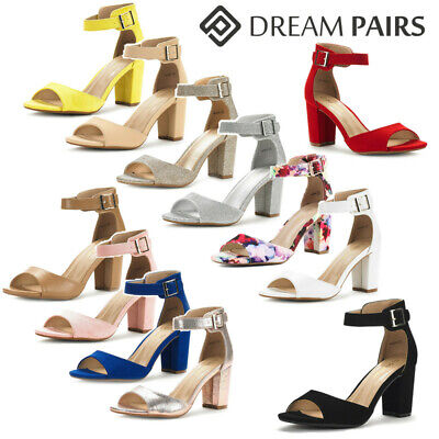 DREAM PAIRS Women Ankle Strap Low Chunky Heel Sandals Open T