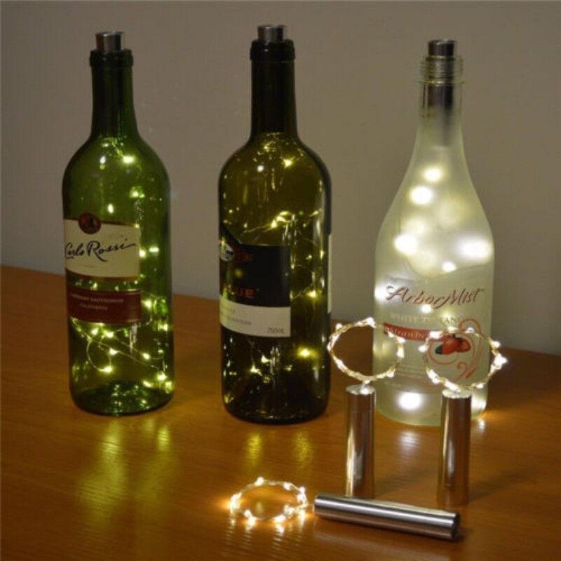 1//4//10Pc Solar LED Wine Bottle Cork Stopper String Xmas Fairy Lights Party X2S8