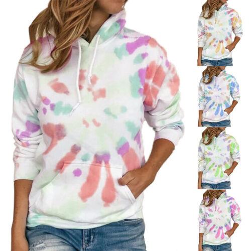 Women Long Sleeve Tye Die Pockets Hoodie Sweatshirt Pullover Blouse Casual Tops Activewear