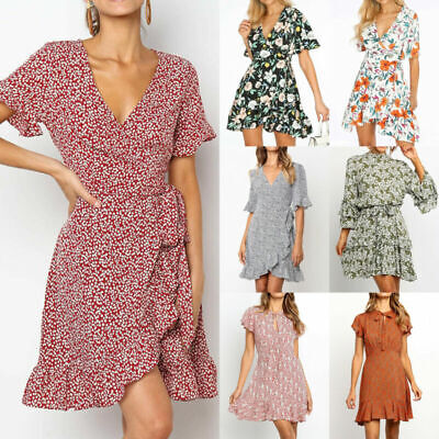Boho Women Chiffon Short Sleeve Floral Mini Summer Beach Sundress Wrap Tea Dress