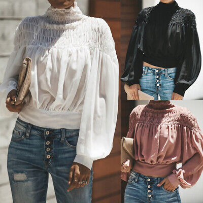 Women Turtleneck Pleated T-Shirt Top Ladies Long Balloon Sleeve Shirt Blouse Top