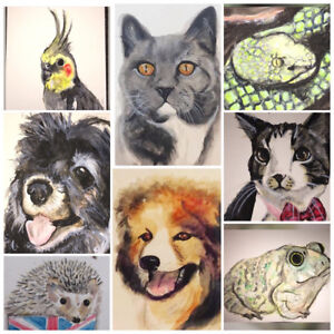 Watercolor Pet Portraits in time for Christmas! ThePerfect gift!
