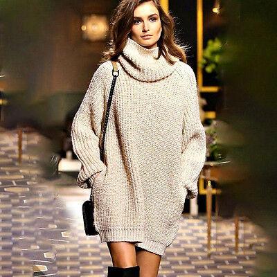 Women Winter Turtle Neck Baggy Top Chunky Kni Sweater Mini Dress Pullover Jumper