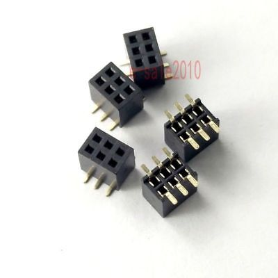 10pcs 1.27mm Pitch 2x3 Pin 6 Pin Female Double Row Smt Smd Pin Header Strip Pcb
