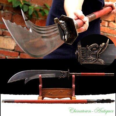 Combat Ready Chinese Pudao Guan Gong Broadsword Naginata Polearm Sword #3423