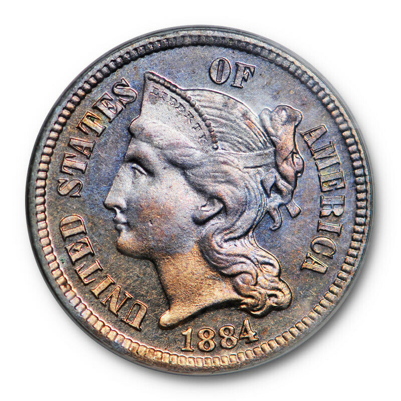 1884 3CN Three Cent Nickel PCGS PR 63 Proof Key Date OGH Old Holder Toned