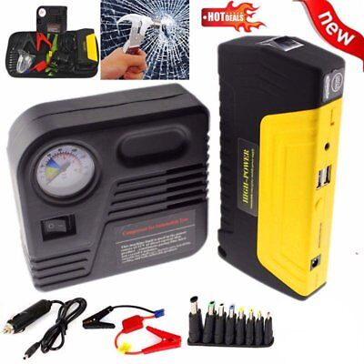 (12V 68800mAh Portable Battery Jump Starter Air Compressor Car Booster Jumper USH)