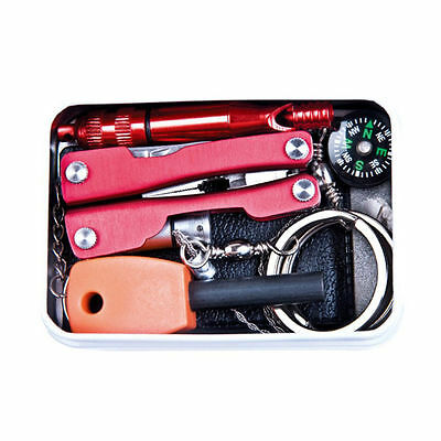 Self Outdoor Sporting Camping Hiking Survival Emergency Gear Tools Box Kit  欢