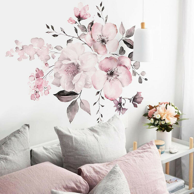 Home Decoration - Removable Wall Stickers Watercolour Dusty Pink Flowers Leaves Home Decor AU