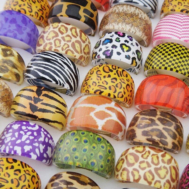 Wholesale 100pcs Zebra Leopard Tiger Beautiful Resin Fashion Rings Women Jewelry