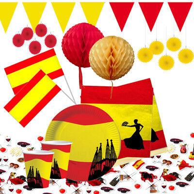 Spanien  Deko Party gelb rot Fussball Dekoration AUSWAHL Teller,Becher Deko