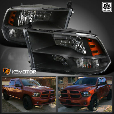 For Black 2009-2018 Dodge Ram 1500 2500 3500 Quad Headlights Lamps Left+Right