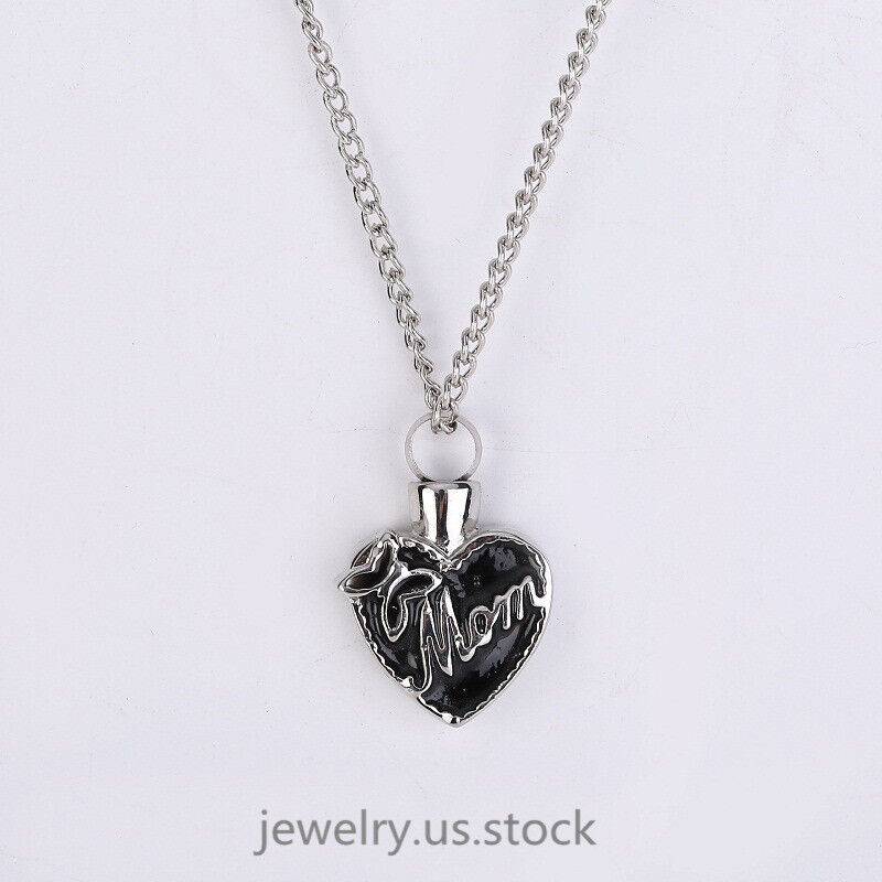 Black Oil Heart with Butterfly Mom Cremation Memorial Ash Ho