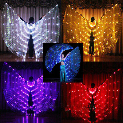 LED Womens Isis Wings Glow Light Up Belly Dancing Club Costumes New - Light Up Dance Costumes