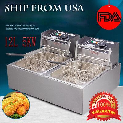 5000w 12l Electric Fryer Deep Pan Cooking Dual Pan Cuisine Commercial Restaurant