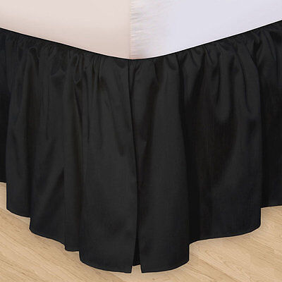 SOLID BLACK Twin Queen or King BEDSKIRT : 100% COTTON DUST RUFFLE BED SKIRT