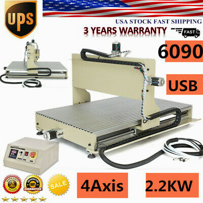 4 Axis 6090 Cnc Router Engraver Metal Milling Machine Ballscrew 2200w Usb 2.2kw