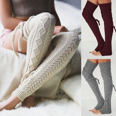 Women Winter Crochet Knitted Stocking Leg Warmers Boot Thigh High Socks Fancy - Crochet Boot Socks