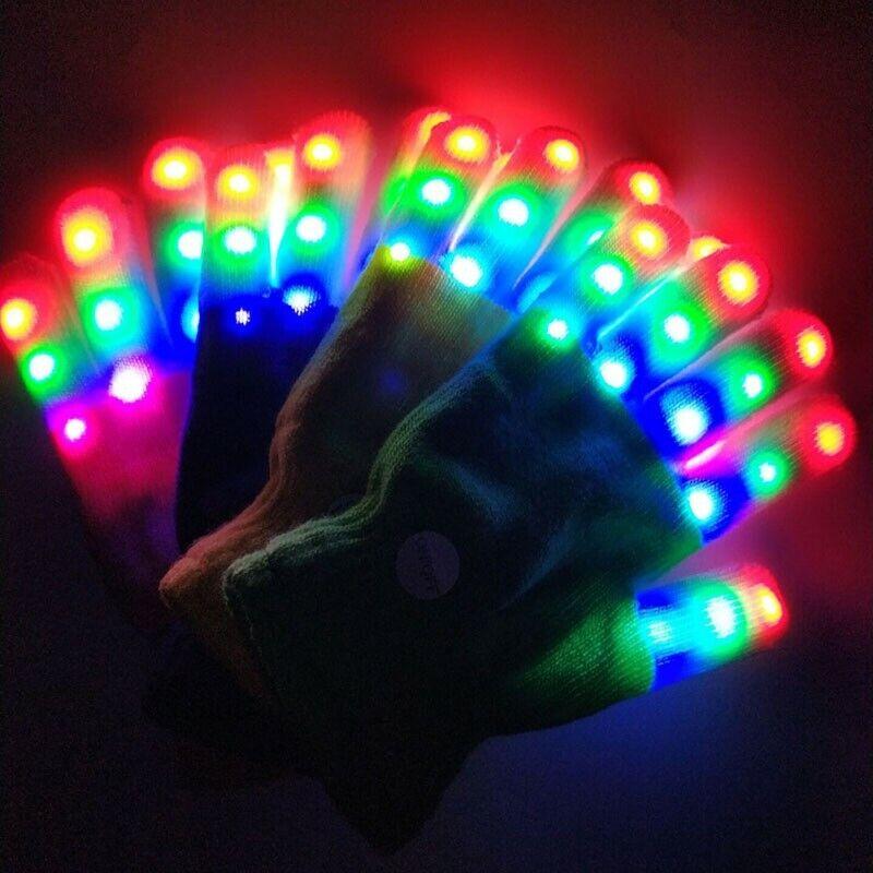 Xmas LED Glove Children LED Glove 7 Light Modes Finger Light Finger Party Glove